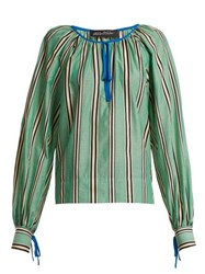 Anna October Stripe Printed Round Neck Cotton Blouse Green