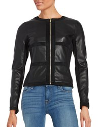 Karl Lagerfeld Faux Suede And Leatherette Blazer Black