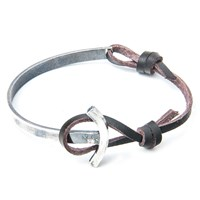 Anchor And Crew Leather Silver Galleon Braceletbrown 23Cm