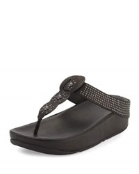 Fitflop Boho Beaded Wedge Platform Sandal Black