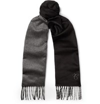 Canali Two Tone Silk And Cashmere Blend Scarf Black