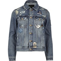 River Island Mensblue Wash Badge Western Denim Jacket