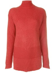 Rick Owens Turtle Neck Fisherman Sweater Red