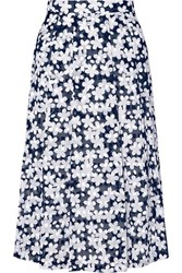Paul And Joe Audrey Floral Print Cotton Poplin Midi Skirt Navy