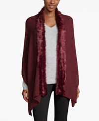 Inc International Concepts Faux Fur Trim Scarf Only At Macy's Wine