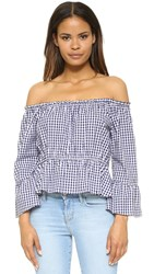 Amanda Uprichard Off Shoulder Flare Sleeve Top Navy White Gingham