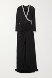 Haney Tatum Ruched Wrap Effect Crystal Embellished Crepe Gown Black
