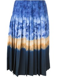 Altuzarra Tie Dye Midi Pleated Skirt Blue