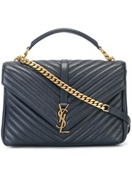 Saint Laurent Large 'College Monogram' Tote Blue