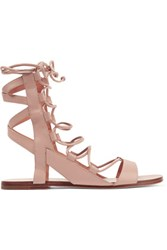 Sigerson Morrison Bunny Lace Up Leather Sandals Neutral