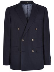 Jaeger Linen Double Breasted Blazer Navy