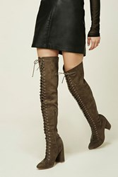Forever 21 Lace Up Thigh High Boots Deep Taupe