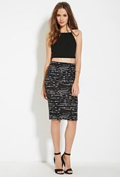 Forever 21 Contemporary Abstract Striped Bodycon Skirt Black Ivory