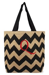 Cathy's Concepts Personalized Chevron Print Jute Tote Grey Black Natural Q