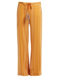 Zeus Dione Alcestes Embroidered Wide Leg Silk Blend Trousers Orange