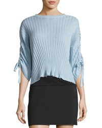 Helmut Lang Ribbed Cropped Cashmere Sweater Light Blue