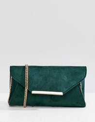 Coast Suede Envelope Clutch Bag Green