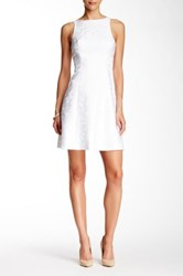 Adrianna Papell Sleeveless Back Cutout Lace Flare Dress White