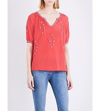 The Great Hacienda Embroidered Cotton Top Bright Pink