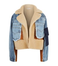 Natasha Zinko Shearling Denim Jacket Blue