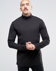 Only And Sons Jersey Roll Neck Long Sleeve Top Black