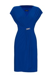 James Lakeland Sleeveless V Neck Ruched Dress Blue