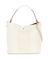 Neiman Marcus Sophia Studded Faux Leather Hobo Bag White