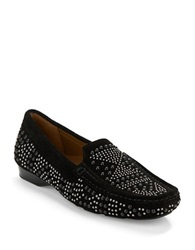 Donald J Pliner Lanies Suede Moccasin Loafers Black