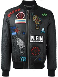 Philipp Plein Badge Appliques Bomber Jacket Black
