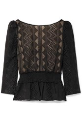 Rachel Zoe Peri Smocked Embroidered Crepon Blouse Black