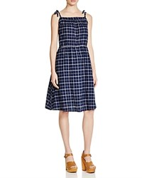 Birds Of Paradis Plaid Sundress Navy Plaid