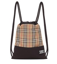 Burberry Check Drawstring Backpack Beige