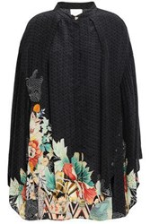 Camilla Woman Midnight Moonchild Crystal Embellished Silk Crepe De Chine Tunic Black