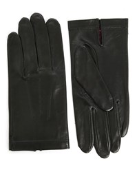 Agnelle Silk Lined 3 Ribbed Black Lambskin Gloves