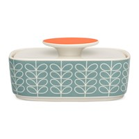 Orla Kiely Linear Stem Butter Dish Duck Egg