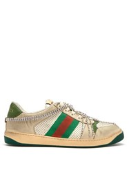 Gucci Screener Crystal Embellished Leather Trainers White Multi