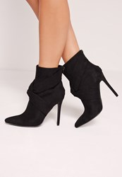 Missguided Twist Front Heeled Ankle Boots Black