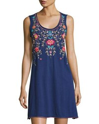 Johnny Was Floral Embroidered Tank Dress Navy