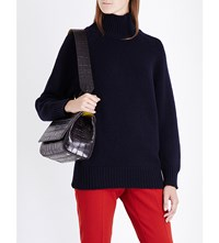 Max Mara Robinia Turtleneck Wool And Cashmere Blend Jumper Navy