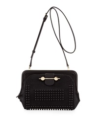Jason Wu Studded Calf Hair Crossbody Bag Black