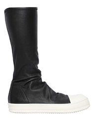 Rick Owens Stretch Nappa Leather High Top Sneakers Black White