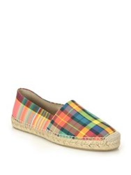 Off White Plaid Leather Slip On Espadrille Sneakers Multi
