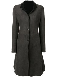 Isaac Sellam Experience Panelled Coat Calf Leather Wool Grey