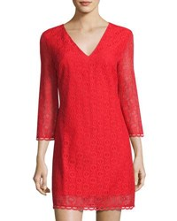 1.State Bell Sleeve Lace Overlay Dress Red