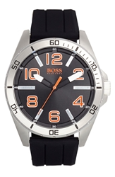 Boss Orange 'Big Time' Silicone Strap Watch 48Mm