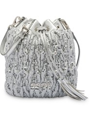 Miu Miu Sequined Bucket Bag Silver