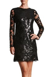 Dress The Population Women's 'Grace' Sequin Lace Long Sleeve Shift Black Black