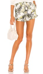 Misa Los Angeles Inca Shorts In White Green. Modern Palm