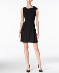 Jessica Howard Petite Bow Accent Fit And Flare Dress Black