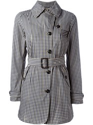 Woolrich Checked Print Belted Trench Coat Blue